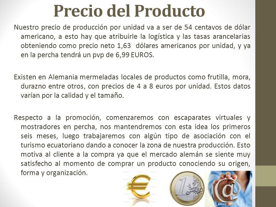 Precio del Producto Nuestro precio de producción por unidad va a ser de 54 centavos de dólar americano, a esto hay que atribuirle la logística y las tasas arancelarias obteniendo como precio neto 1,63 dólares americanos por unidad, y ya en la percha tendrá un pvp de 6,99 EUROS.