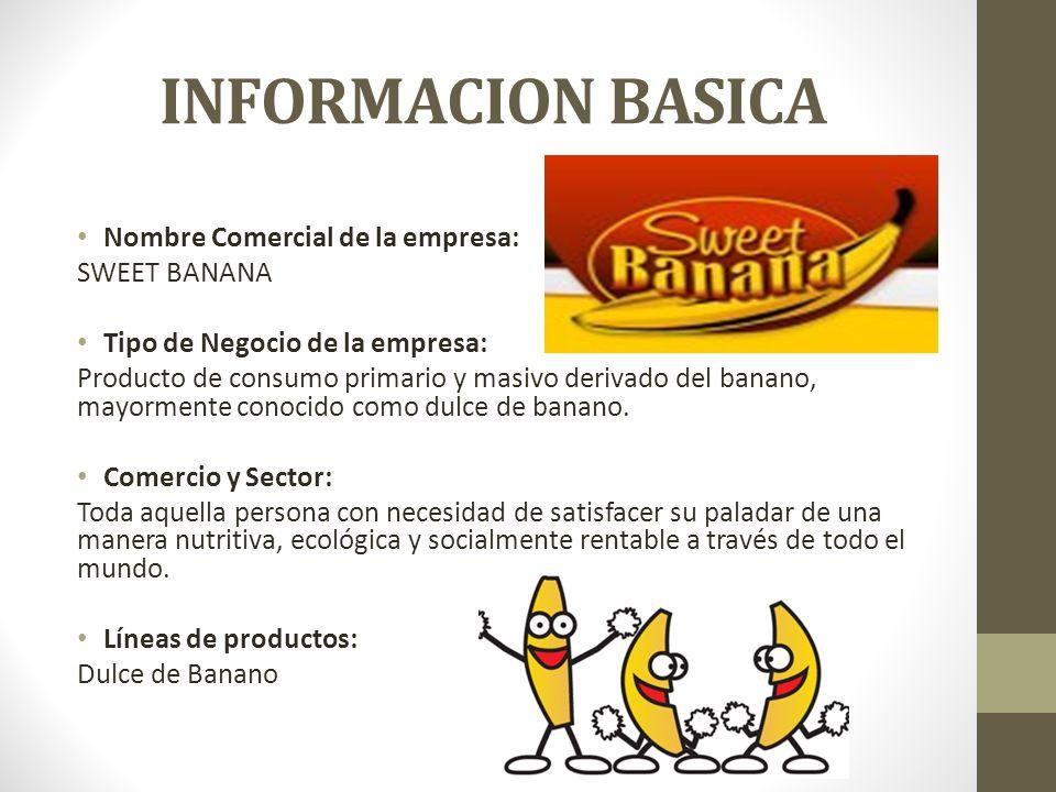 INFORMACION BASICA Nombre Comercial de la empresa: SWEET BANANA Tipo de Negocio de la empresa: Producto de consumo primario y masivo derivado del banano, mayormente conocido como dulce de banano.