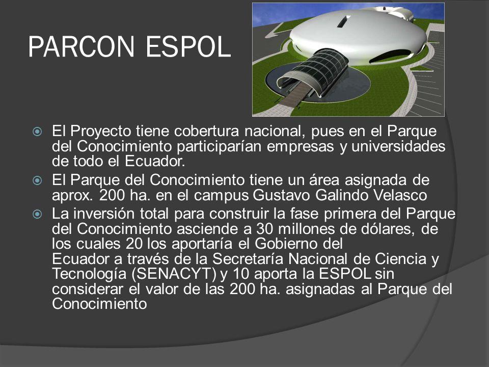 PARCON ESPOL El Proyecto tiene cobertura nacional, pues en el Parque del Conocimiento participarían empresas y universidades de todo el Ecuador.