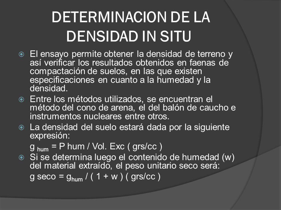 DETERMINACION DE LA DENSIDAD IN SITU El ensayo permite obtener la densidad de terreno y así verificar los resultados obtenidos en faenas de compactación de suelos, en las que existen especificaciones en cuanto a la humedad y la densidad.