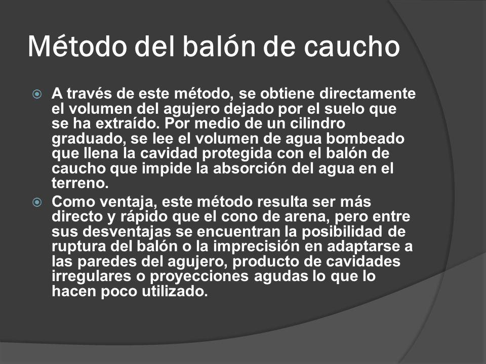 Método del balón de caucho A través de este método, se obtiene directamente el volumen del agujero dejado por el suelo que se ha extraído.