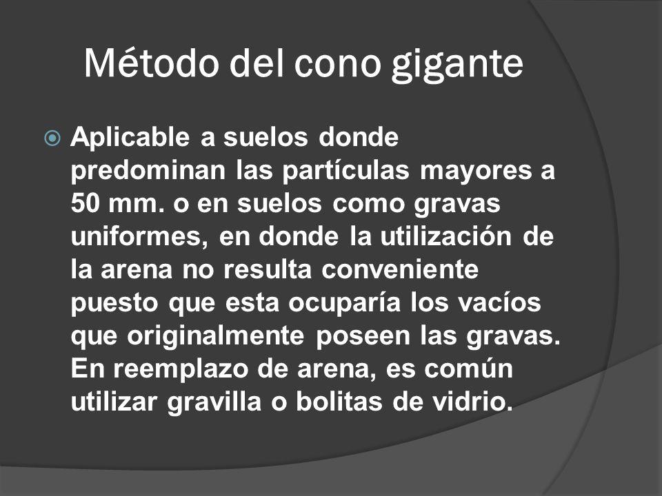 Método del cono gigante Aplicable a suelos donde predominan las partículas mayores a 50 mm.