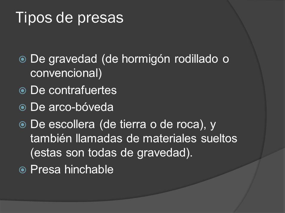 Tipos de presas De gravedad (de hormigón rodillado o convencional) De contrafuertes De arco-bóveda De escollera (de tierra o de roca), y también llamadas de materiales sueltos (estas son todas de gravedad).