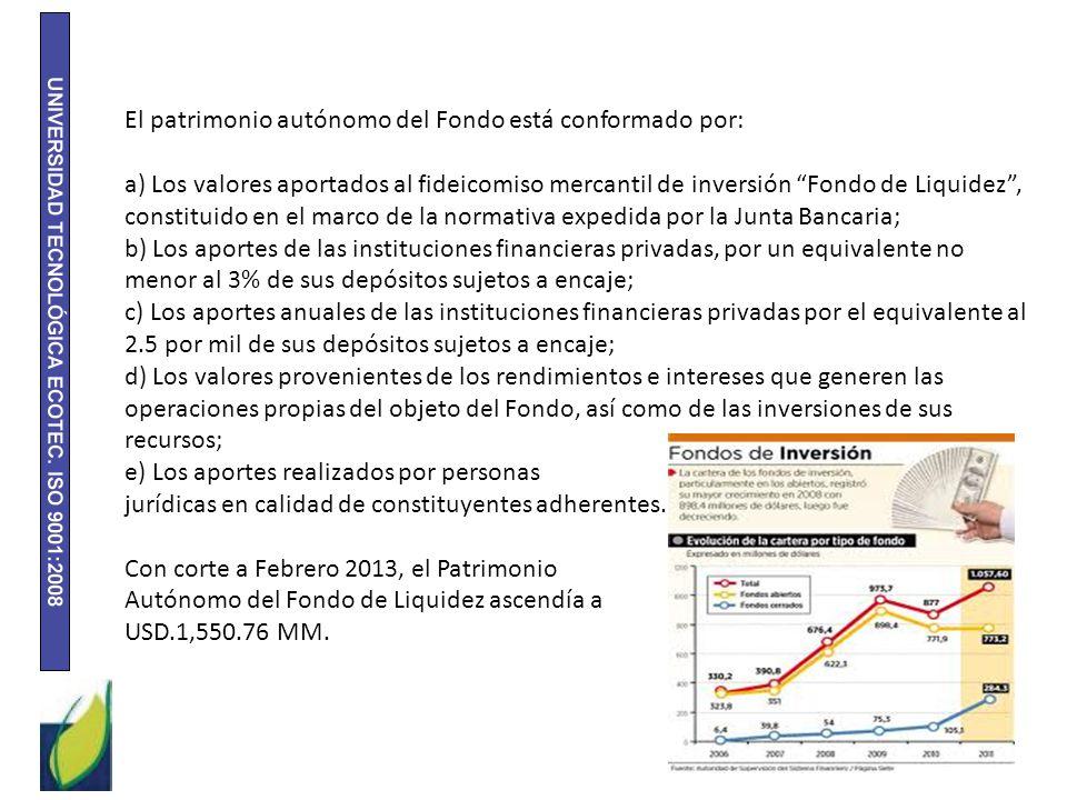 El patrimonio autónomo del Fondo está conformado por: a) Los valores aportados al fideicomiso mercantil de inversión Fondo de Liquidez, constituido en