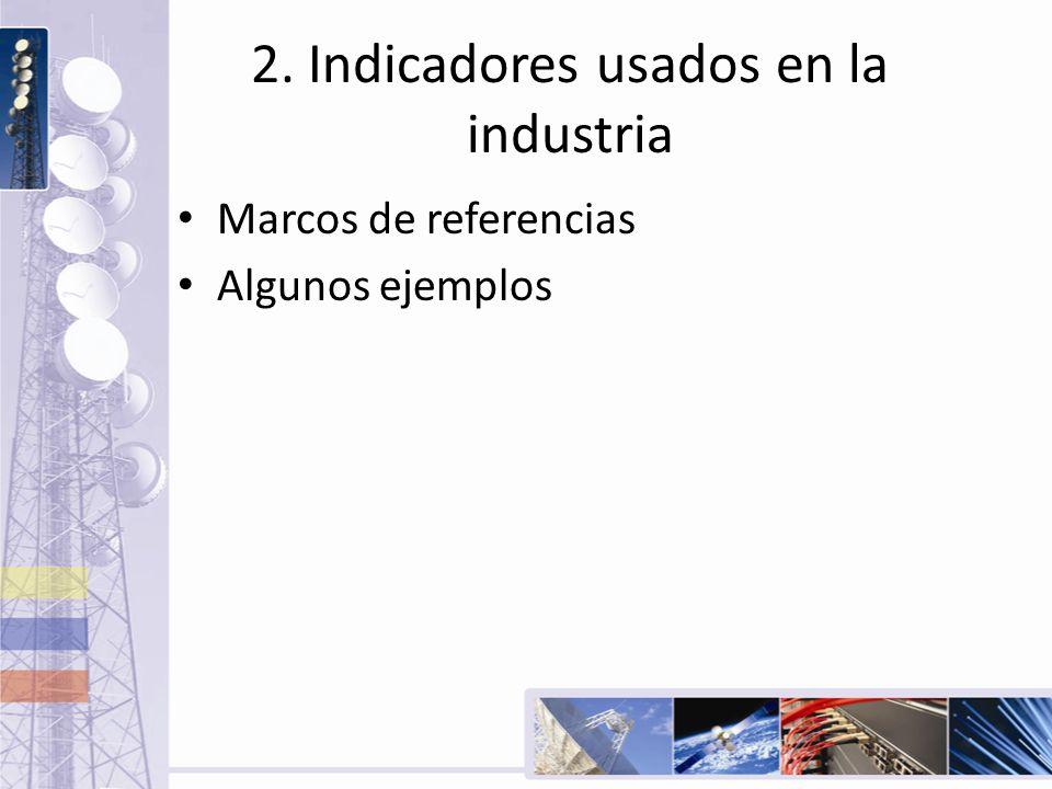 2. Indicadores usados en la industria Marcos de referencias Algunos ejemplos