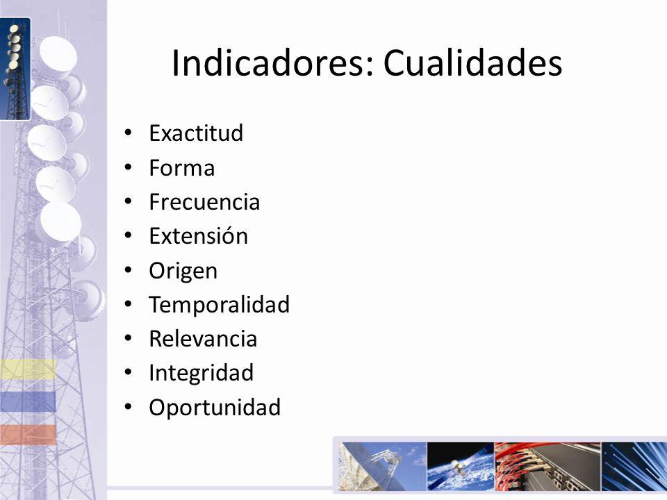 Indicadores: Cualidades Exactitud Forma Frecuencia Extensión Origen Temporalidad Relevancia Integridad Oportunidad