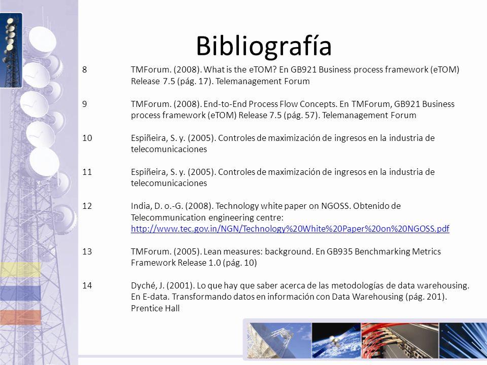 Bibliografía 8TMForum. (2008). What is the eTOM? En GB921 Business process framework (eTOM) Release 7.5 (pág. 17). Telemanagement Forum 9TMForum. (200