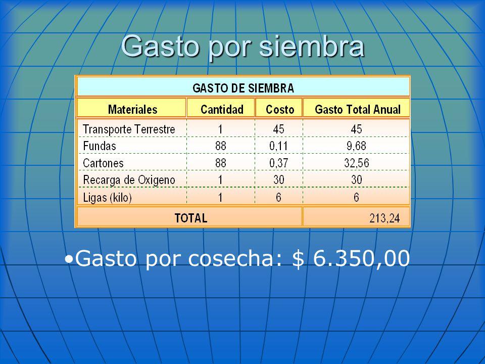 Gasto por siembra Gasto por cosecha: $ 6.350,00