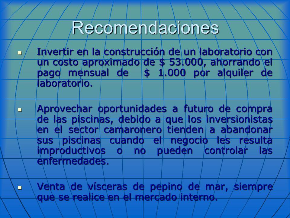 Recomendaciones Invertir en la construcción de un laboratorio con un costo aproximado de $ 53.000, ahorrando el pago mensual de $ 1.000 por alquiler d