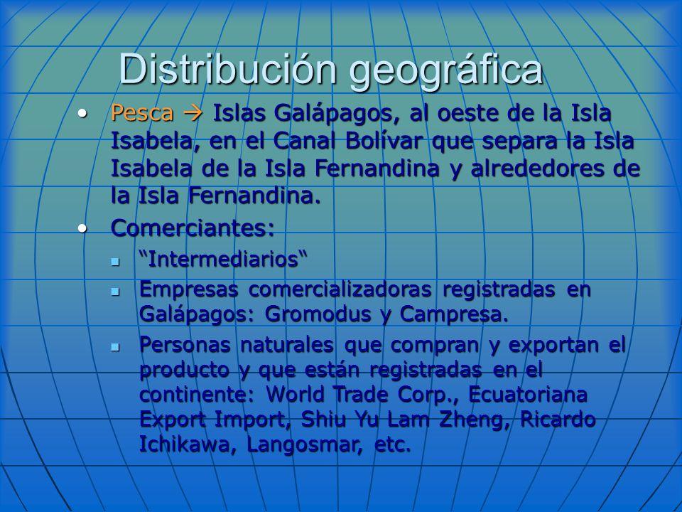 Distribución geográfica Pesca Islas Galápagos, al oeste de la Isla Isabela, en el Canal Bolívar que separa la Isla Isabela de la Isla Fernandina y alr