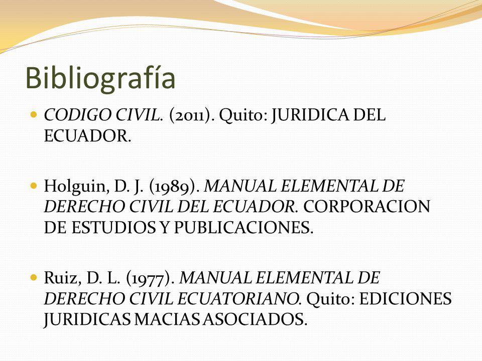 Bibliografía CODIGO CIVIL.(2011). Quito: JURIDICA DEL ECUADOR.