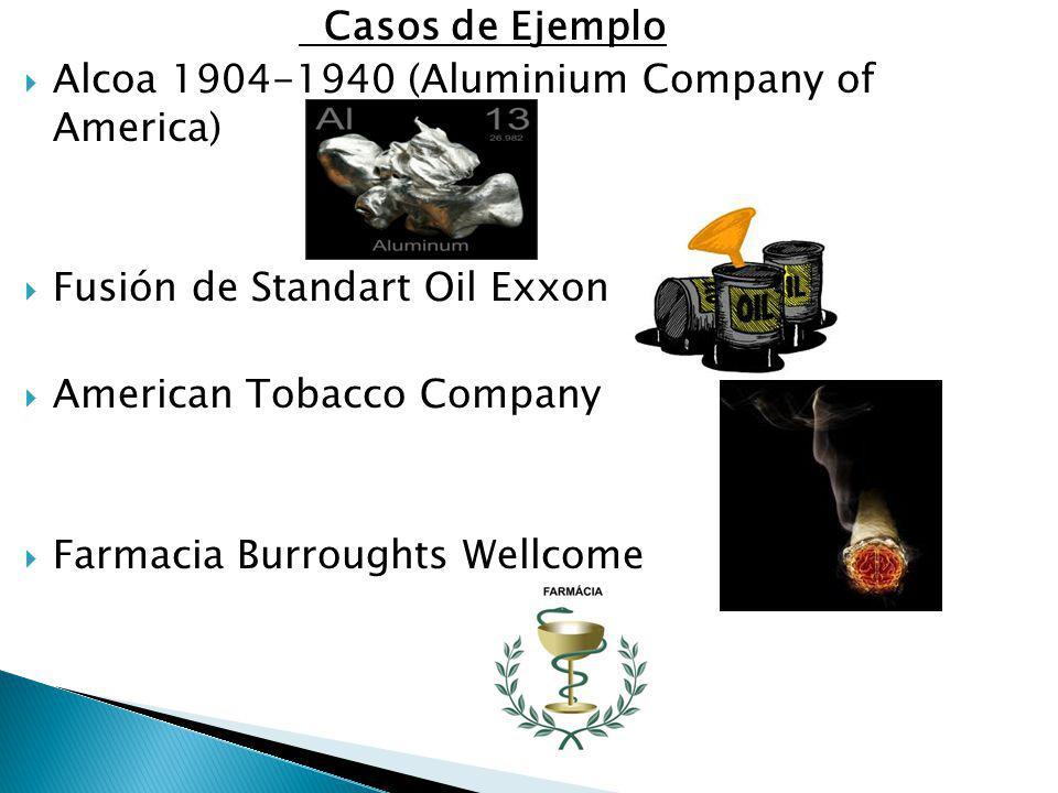 Casos de Ejemplo Alcoa 1904-1940 (Aluminium Company of America) Fusión de Standart Oil Exxon American Tobacco Company Farmacia Burroughts Wellcome
