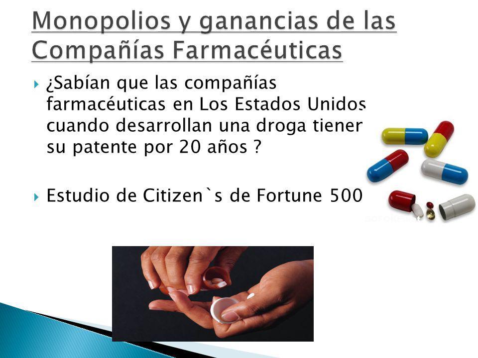 ¿Sabían que las compañías farmacéuticas en Los Estados Unidos cuando desarrollan una droga tienen su patente por 20 años ? Estudio de Citizen`s de For