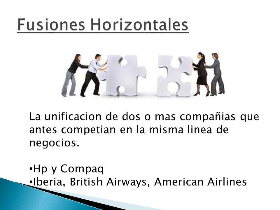 La unificacion de dos o mas compañias que antes competian en la misma linea de negocios. Hp y Compaq Iberia, British Airways, American Airlines