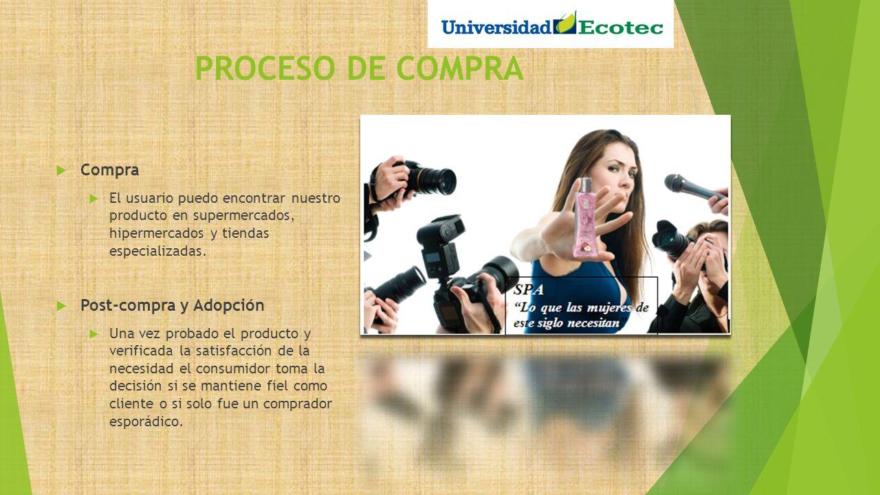 PROCESO DE COMPRA Compra El usuario puedo encontrar nuestro producto en supermercados, hipermercados y tiendas especializadas. Post-compra y Adopción