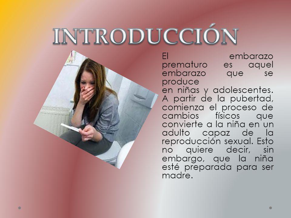 El embarazo prematuro es aquel embarazo que se produce en niñas y adolescentes. A partir de la pubertad, comienza el proceso de cambios físicos que co