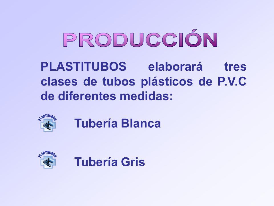 PLASTITUBOS elaborará tres clases de tubos plásticos de P.V.C de diferentes medidas: Tubería Blanca Tubería Gris