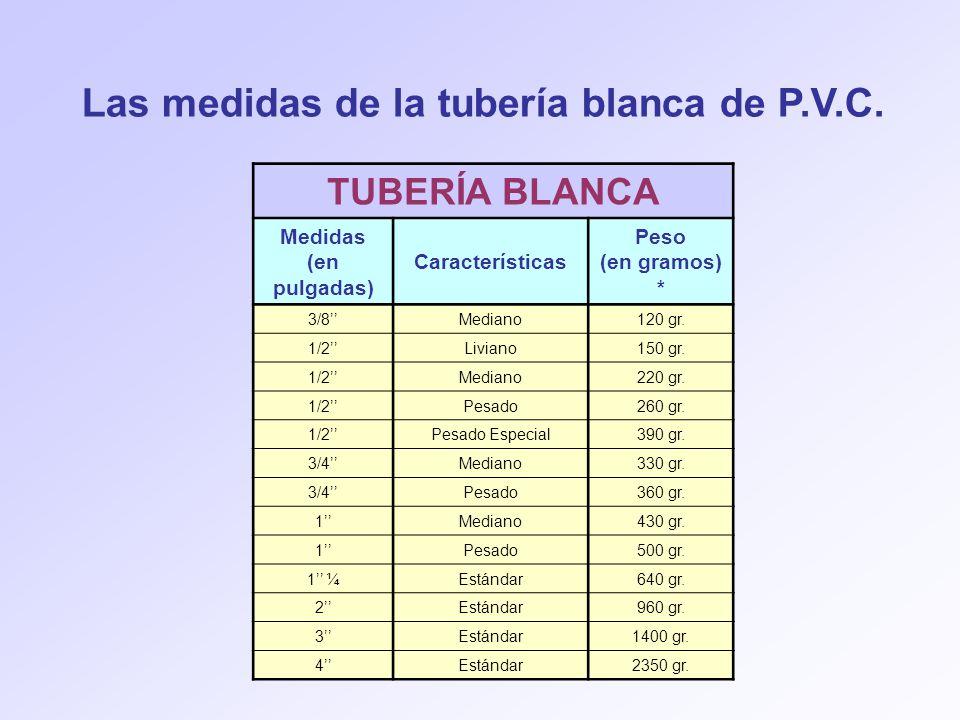 TUBERÍA BLANCA Medidas (en pulgadas) Características Peso (en gramos) * 3/8Mediano120 gr. 1/2Liviano150 gr. 1/2Mediano220 gr. 1/2Pesado260 gr. 1/2Pesa