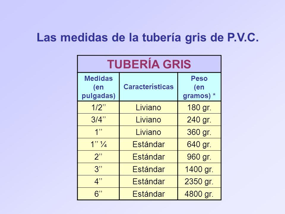 Las medidas de la tubería gris de P.V.C. TUBERÍA GRIS Medidas (en pulgadas) Características Peso (en gramos) * 1/2Liviano180 gr. 3/4Liviano240 gr. 1Li