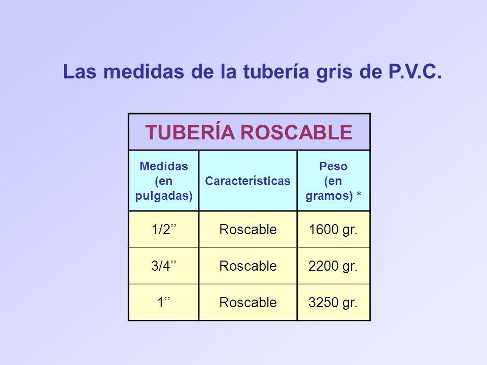 Las medidas de la tubería gris de P.V.C. TUBERÍA ROSCABLE Medidas (en pulgadas) Características Peso (en gramos) * 1/2Roscable1600 gr. 3/4Roscable2200