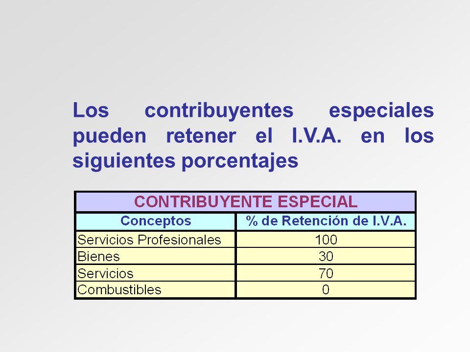 Los contribuyentes especiales pueden retener el I.V.A. en los siguientes porcentajes