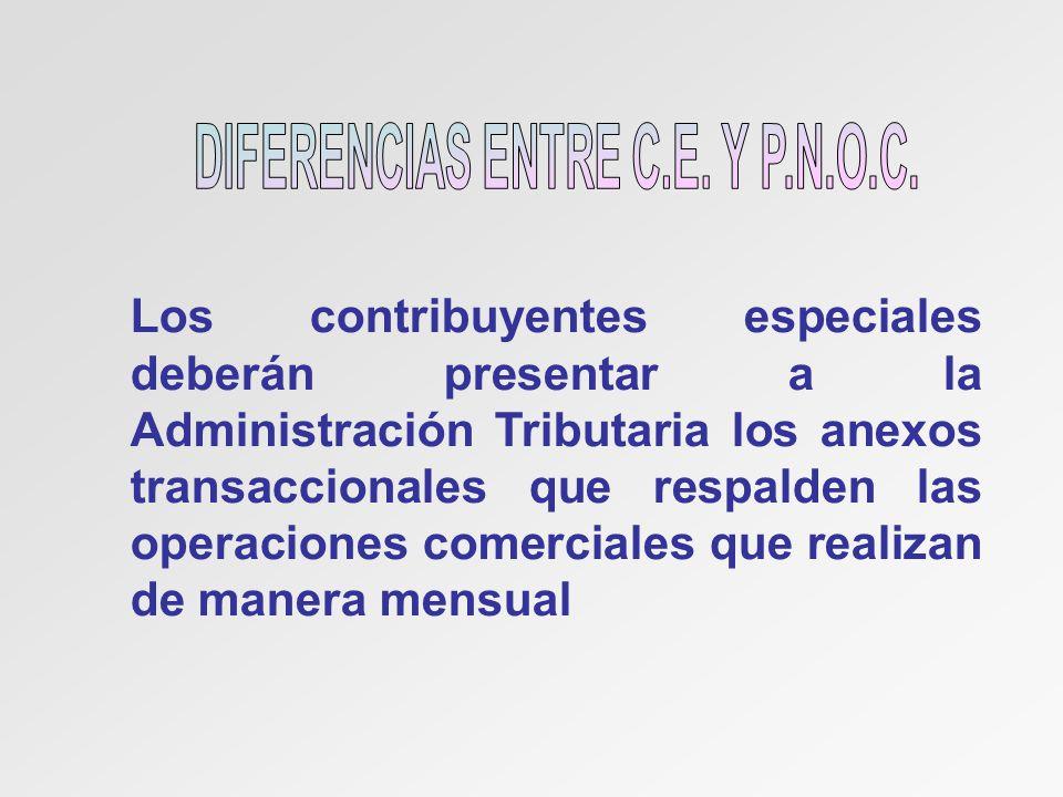 Los contribuyentes especiales deberán presentar a la Administración Tributaria los anexos transaccionales que respalden las operaciones comerciales qu