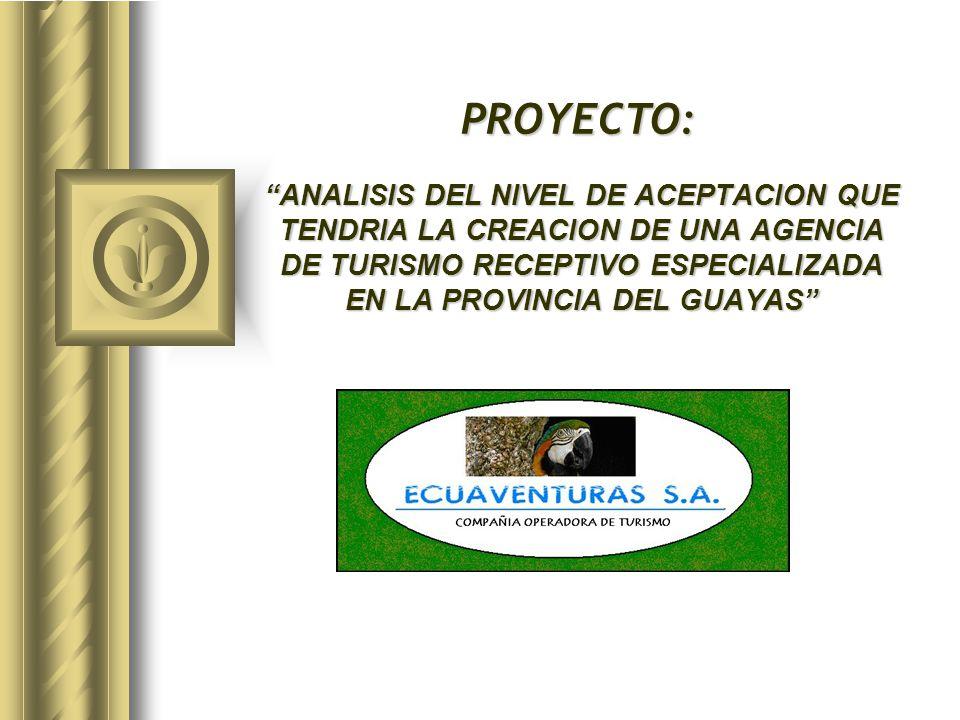 ANALISIS DEL NIVEL DE ACEPTACION QUE TENDRIA LA CREACION DE UNA AGENCIA DE TURISMO RECEPTIVO ESPECIALIZADA EN LA PROVINCIA DEL GUAYAS PROYECTO:
