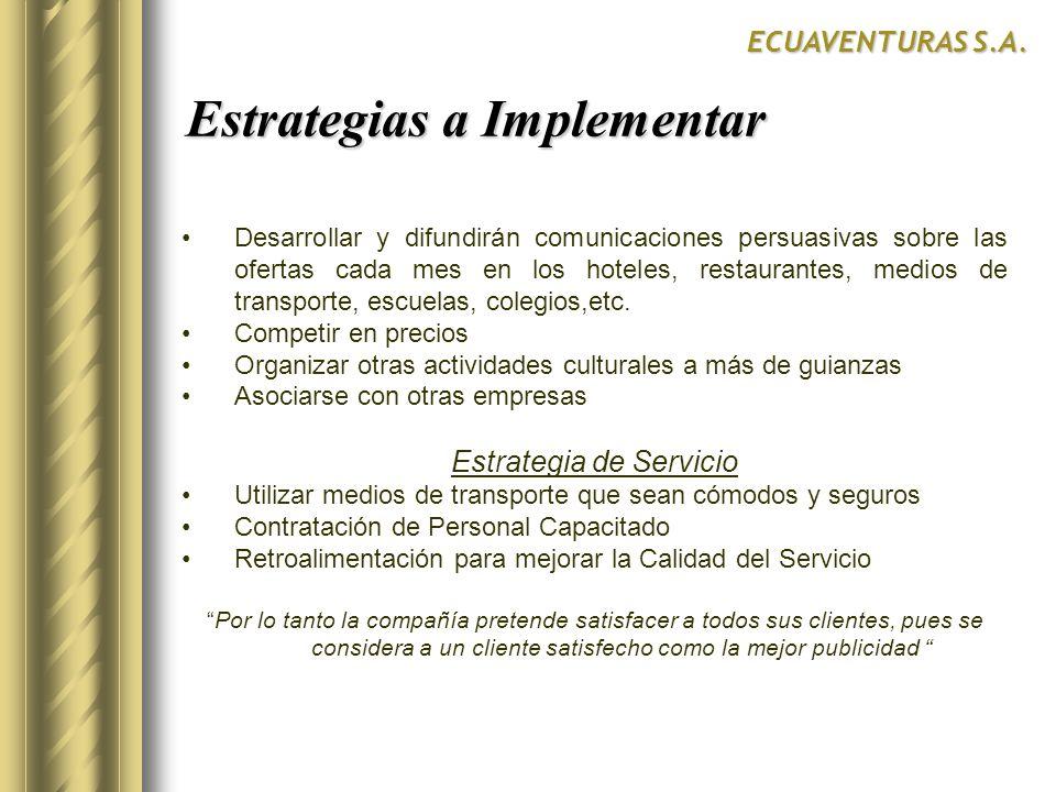 Estrategias a Implementar Estrategias a Implementar ECUAVENTURAS S.A. Desarrollar y difundirán comunicaciones persuasivas sobre las ofertas cada mes e