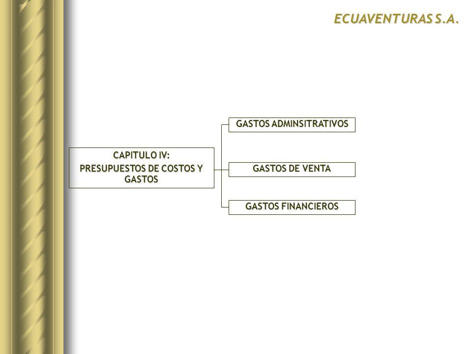 CAPITULO IV: PRESUPUESTOS DE COSTOS Y GASTOS GASTOS ADMINSITRATIVOS GASTOS FINANCIEROS ECUAVENTURAS S.A. GASTOS DE VENTA