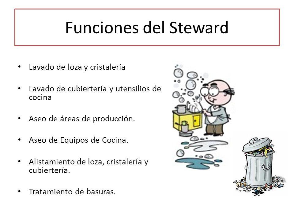 Funciones del Steward Lavado de loza y cristalería Lavado de cubiertería y utensilios de cocina Aseo de áreas de producción. Aseo de Equipos de Cocina