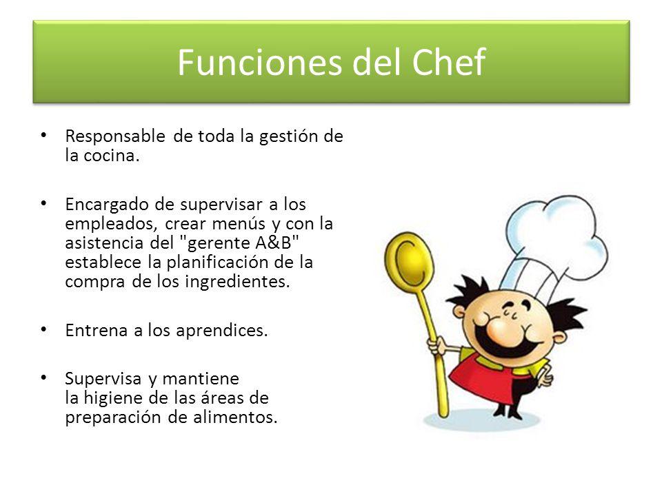 Funciones del Chef Responsable de toda la gestión de la cocina. Encargado de supervisar a los empleados, crear menús y con la asistencia del