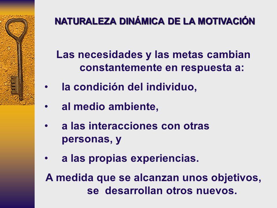 NATURALEZA DINÁMICA DE LA MOTIVACIÓN Las necesidades y las metas cambian constantemente en respuesta a: la condición del individuo, al medio ambiente,