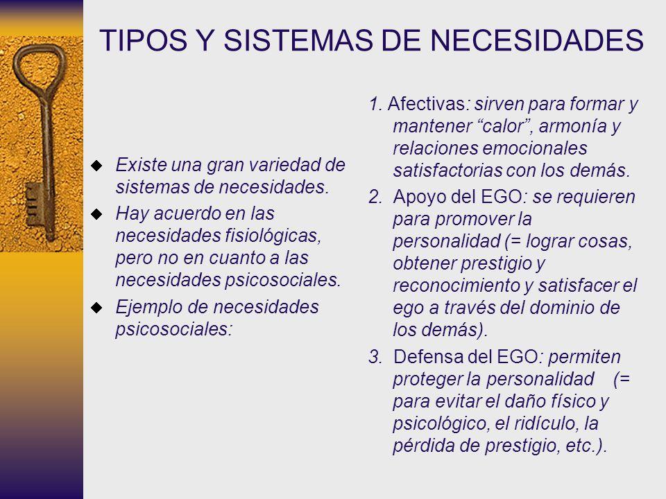 TIPOS Y SISTEMAS DE NECESIDADES Existe una gran variedad de sistemas de necesidades. Hay acuerdo en las necesidades fisiológicas, pero no en cuanto a