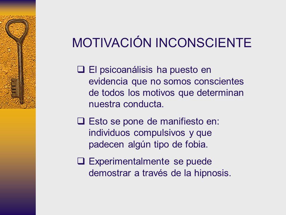 MOTIVACIÓN INCONSCIENTE El psicoanálisis ha puesto en evidencia que no somos conscientes de todos los motivos que determinan nuestra conducta. Esto se