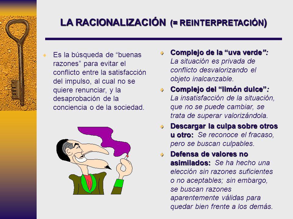 LA RACIONALIZACIÓN (= REINTERPRETACIÓN ) Es la búsqueda de buenas razones para evitar el conflicto entre la satisfacción del impulso, al cual no se qu