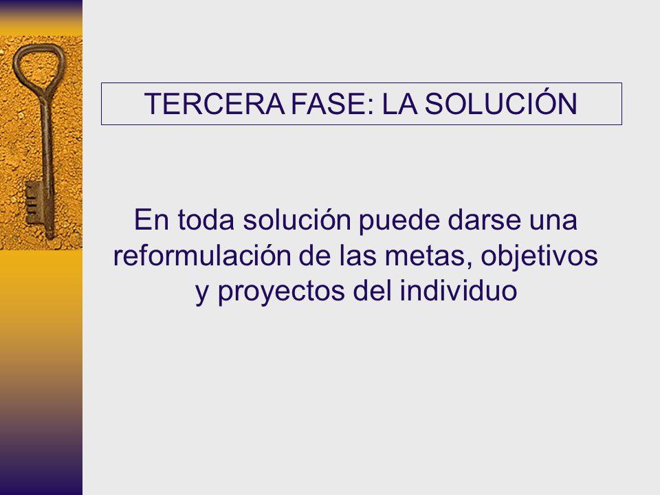 TERCERA FASE: LA SOLUCIÓN En toda solución puede darse una reformulación de las metas, objetivos y proyectos del individuo