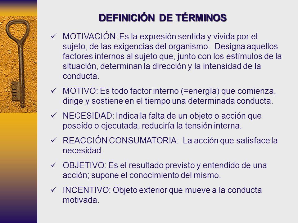 DEFINICIÓN DE TÉRMINOS MOTIVACIÓN: Es la expresión sentida y vivida por el sujeto, de las exigencias del organismo. Designa aquellos factores internos