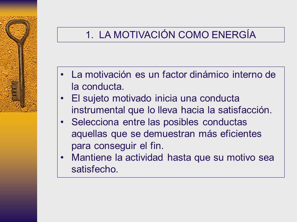 1. LA MOTIVACIÓN COMO ENERGÍA La motivación es un factor dinámico interno de la conducta. El sujeto motivado inicia una conducta instrumental que lo l