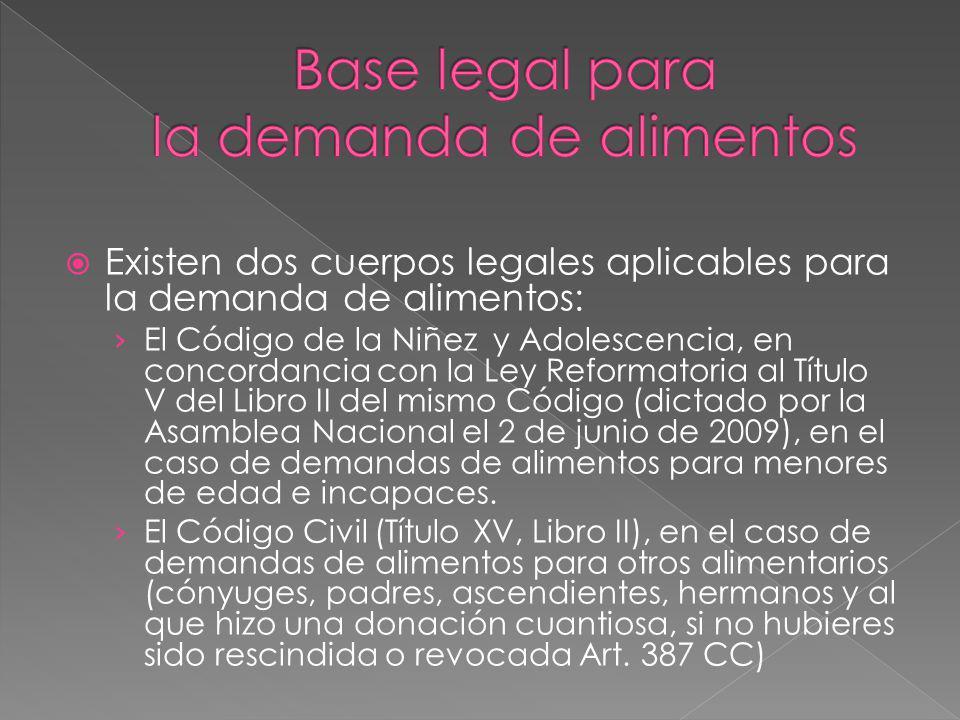 Existen dos cuerpos legales aplicables para la demanda de alimentos: El Código de la Niñez y Adolescencia, en concordancia con la Ley Reformatoria al