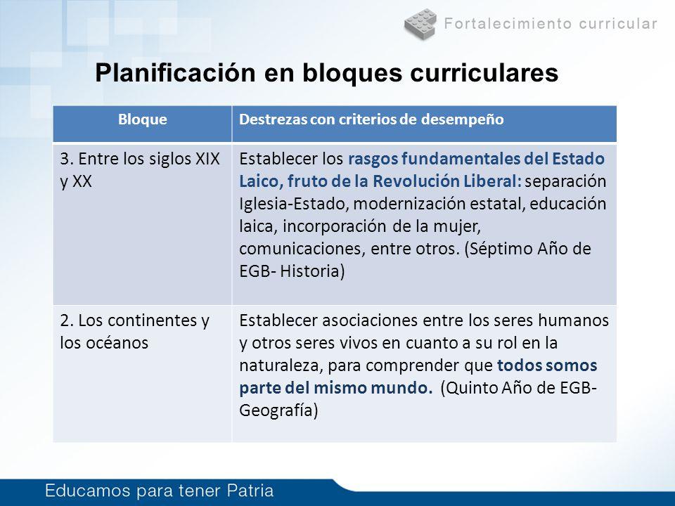 Planificación en bloques curriculares BloqueDestrezas con criterios de desempeño 3. Entre los siglos XIX y XX Establecer los rasgos fundamentales del