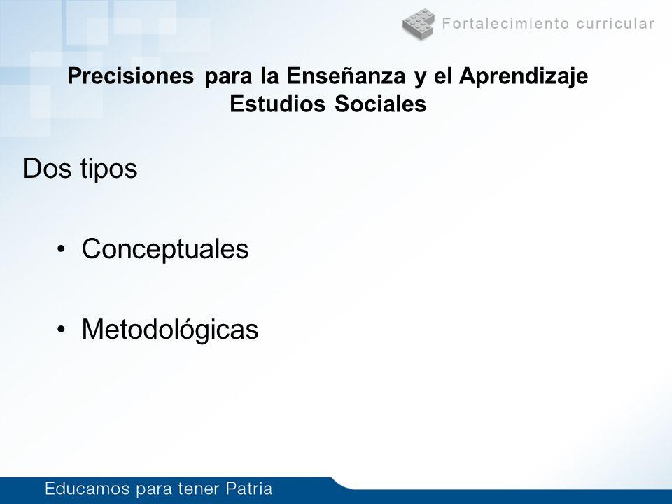 Dos tipos Conceptuales Metodológicas Precisiones para la Enseñanza y el Aprendizaje Estudios Sociales