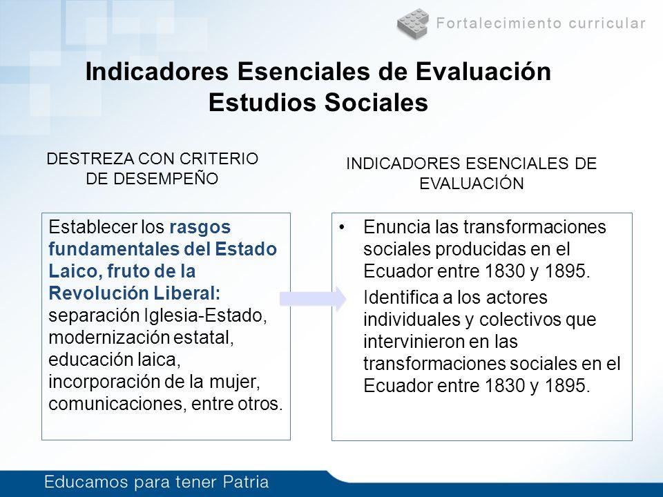 Indicadores Esenciales de Evaluación Estudios Sociales Enuncia las transformaciones sociales producidas en el Ecuador entre 1830 y 1895. Identifica a