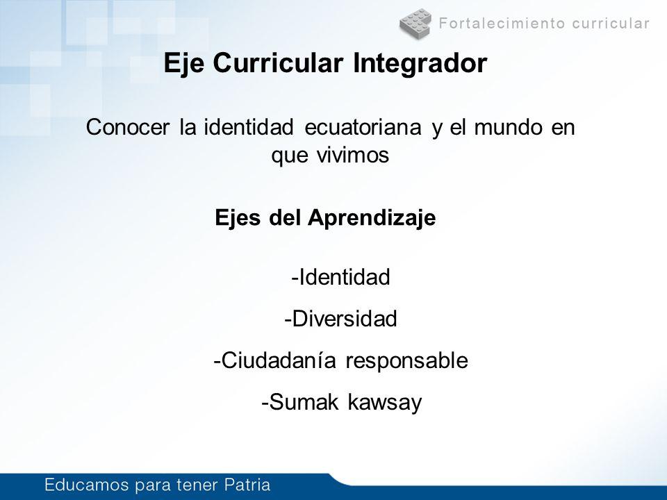 Eje Curricular Integrador Conocer la identidad ecuatoriana y el mundo en que vivimos Ejes del Aprendizaje -Identidad -Diversidad -Ciudadanía responsab