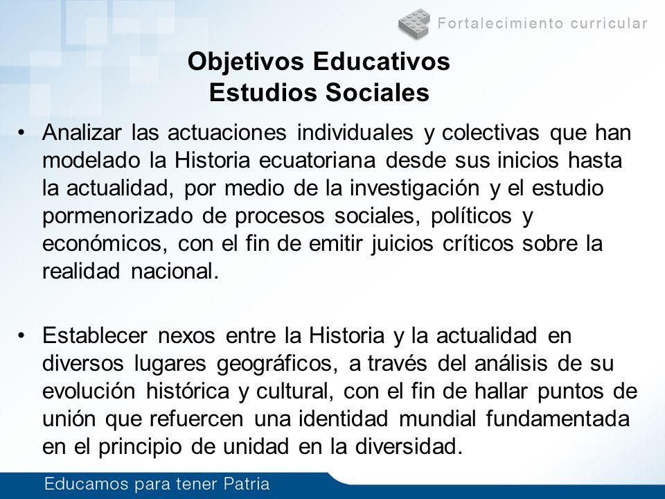 Analizar las actuaciones individuales y colectivas que han modelado la Historia ecuatoriana desde sus inicios hasta la actualidad, por medio de la inv