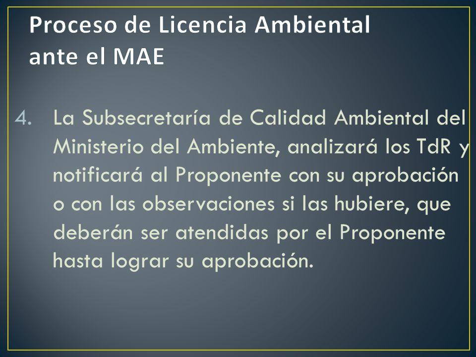 4.La Subsecretaría de Calidad Ambiental del Ministerio del Ambiente, analizará los TdR y notificará al Proponente con su aprobación o con las observac