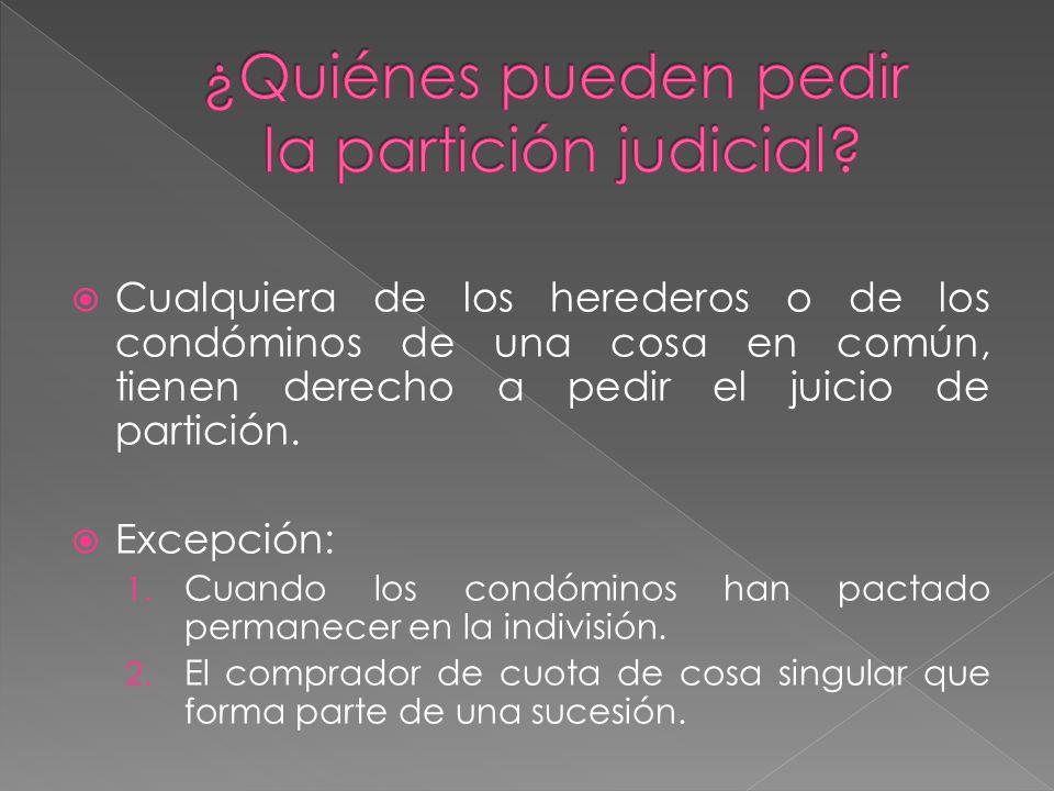 Cualquiera de los herederos o de los condóminos de una cosa en común, tienen derecho a pedir el juicio de partición.