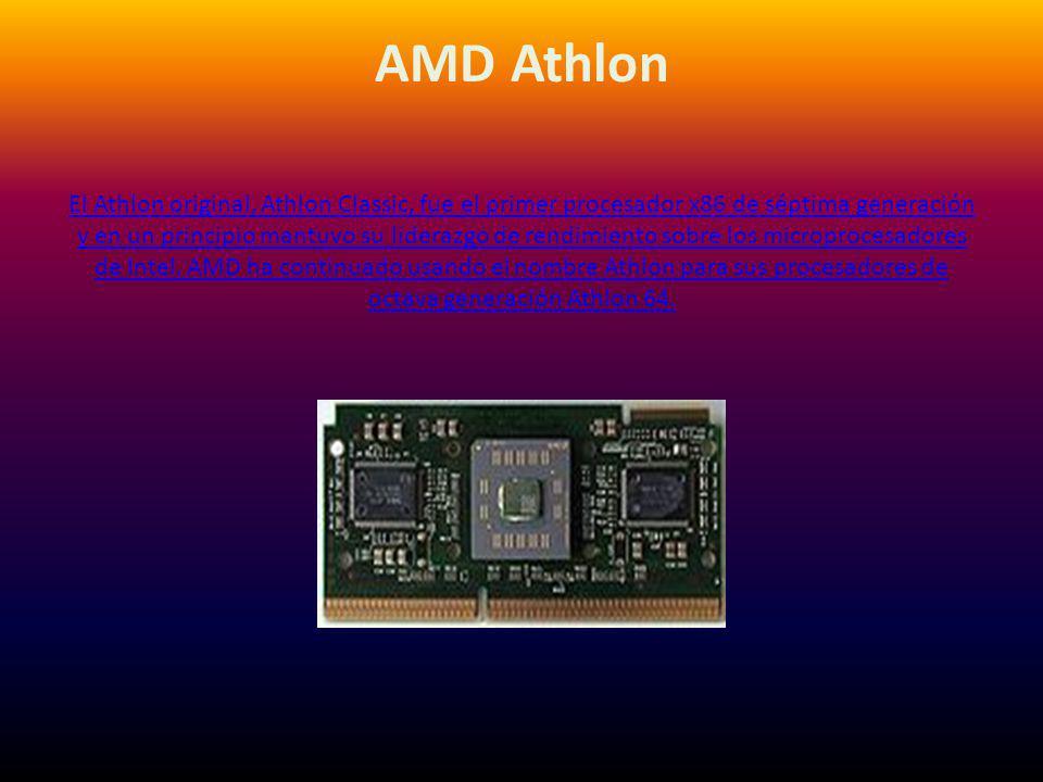 AMD Athlon El Athlon original, Athlon Classic, fue el primer procesador x86 de séptima generación y en un principio mantuvo su liderazgo de rendimiento sobre los microprocesadores de Intel.
