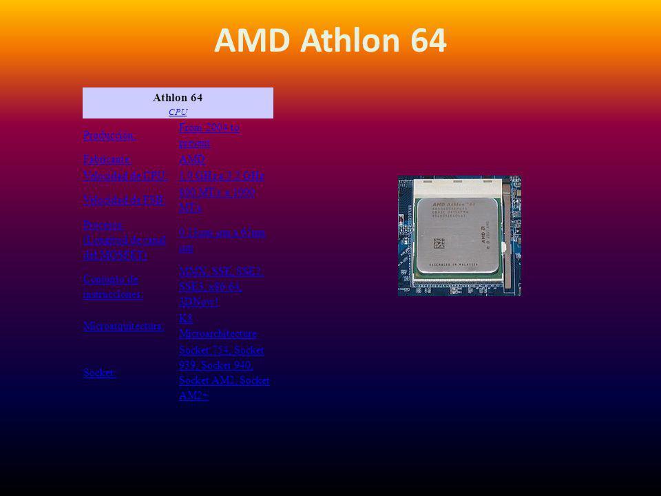 AMD Athlon 64 Athlon 64 CPU CPU Producción: From 2004 to present Fabricante:AMD Velocidad de CPU:1.0 GHz a 3.2 GHz Velocidad de FSB: 800 MT/s a 1000 M