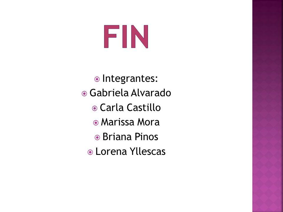 Integrantes: Gabriela Alvarado Carla Castillo Marissa Mora Briana Pinos Lorena Yllescas