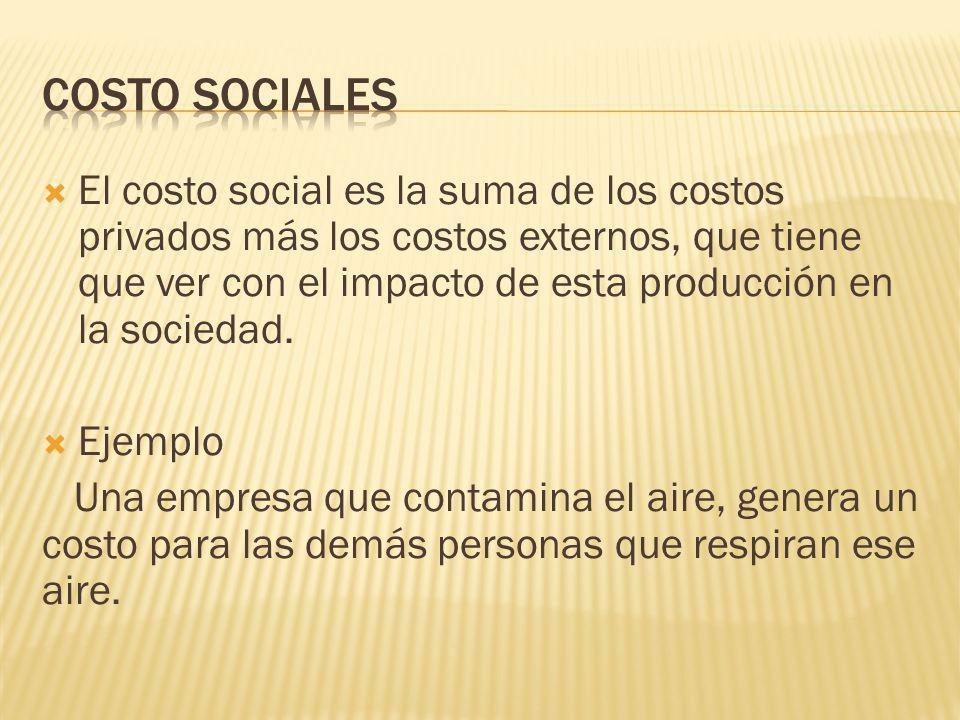 El costo social es la suma de los costos privados más los costos externos, que tiene que ver con el impacto de esta producción en la sociedad. Ejemplo